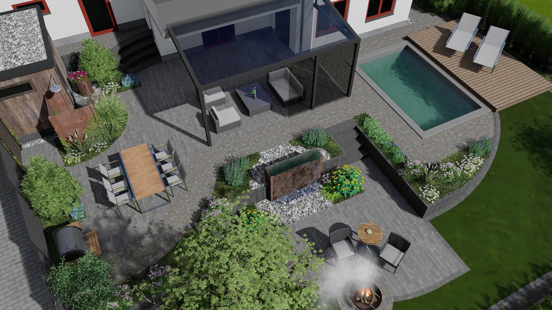 Terrasse Pool Abdeckung begehbar