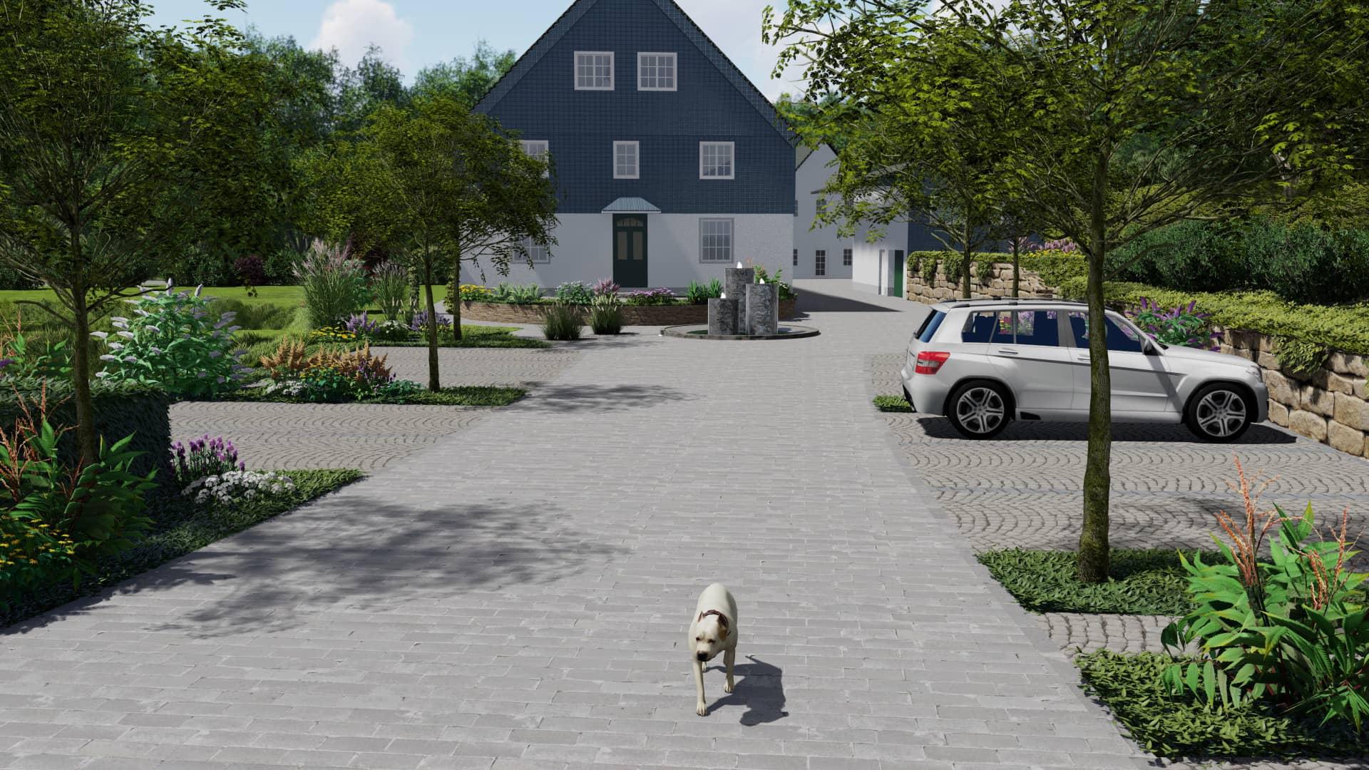 Außenanlage Parkplatz Zufahrt Wasserspiel