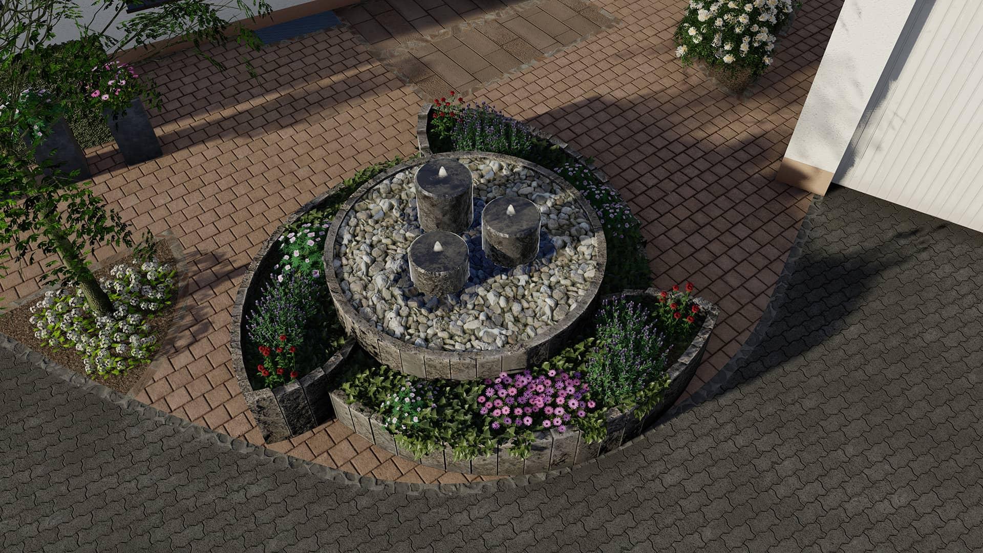 Wasserspiel Brunnen Basalt Hochbeet